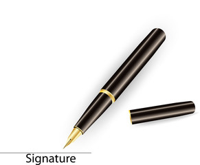 Gold Pen with Signature Line of Document