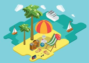 Beach sea ocean cruise summer vacation flat 3d isometric concept