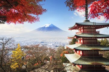 Tuinposter Tokyo Mt. Fuji with fall colors in Japan.
