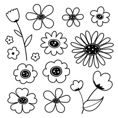 Flower Cute Black Icon Vector