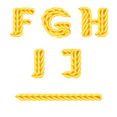 knitted alphabet F J