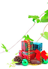 Gift boxes and christmas balls on white background