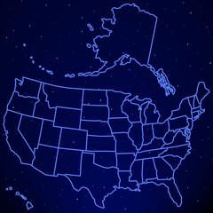 USA map on starry sky