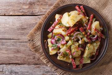 German potato salad close-up top view  horizontal. rustic style