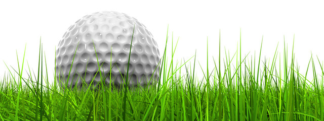 White golf ball in grass isolated banner