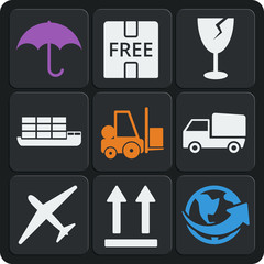 Set of 9 delivery web and mobile icons. Vector.