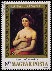 Stamp printed in Hungary shows painting by Raffaello Santi