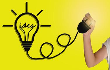 Hand drawing a light bulb : Idea concept