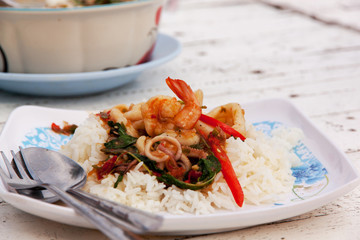 Fried rice with mixed seafood Basil 01