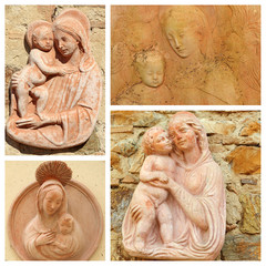 collage with Madonna and child - tuscan craft from Impruneta