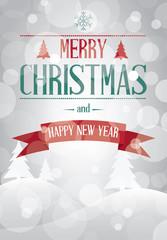 Merry Christmas landscape card vector