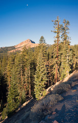 Vertical Composition Moonrise Brokeoff Mountain Lassen USA