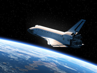 Wall Mural - Space Shuttle Orbiting Earth