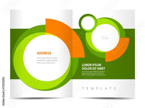 Brochure Design Template Circle Element Green Background Stock