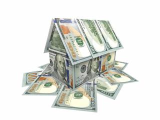 Дом, построенный из банкнот по 100 долларов