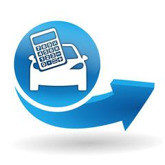 Fototapete - calculatrice automobile sur bouton web bleu