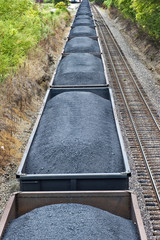 Coal Cars On A Freight Train