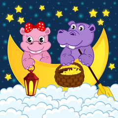 couple of hippos float on moon in clouds -  eps