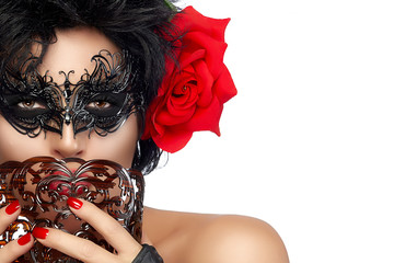Masquerade. Pretty Short Hair Woman with Elegant Mask