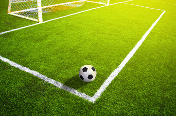 Soccer grass field with marking and ball, Sport