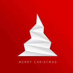 Simple vector christmas tree made from white folded paper