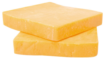 two slices of cheddar isolated
