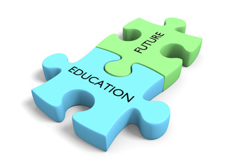 Future planning concept, puzzle parts labeled Education & Future