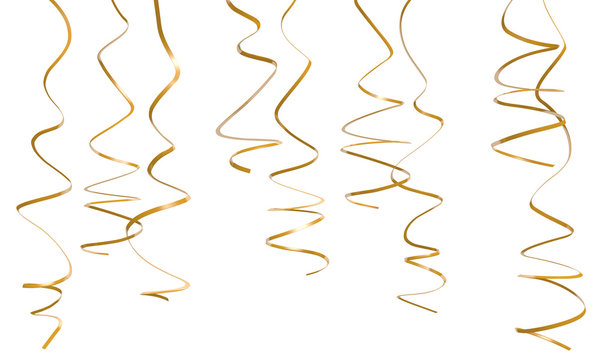 Decorative gold party streamers