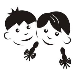 Kids, black silhouette