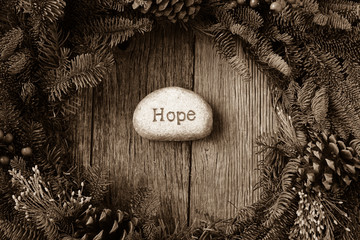 Hope in Text in the center of a Christmas Wreath