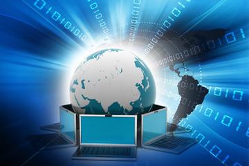 laptop computers around a world