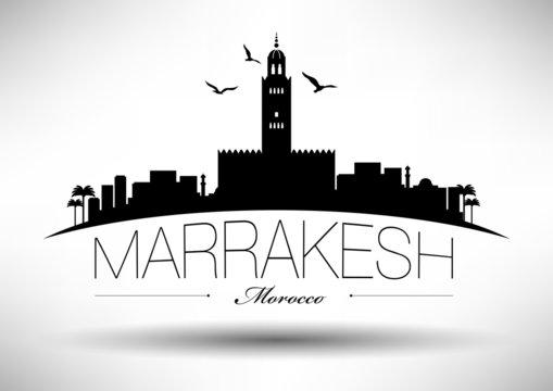 Marrakesh Skyline with Typography Design
