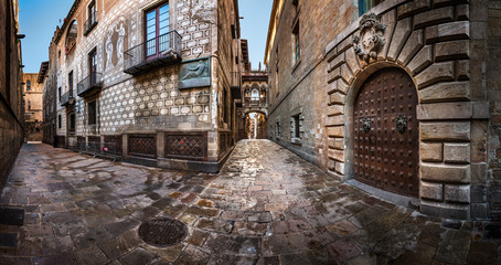 Barri Gothic Quarter and Bridge of Sighs in Barcelona, Catalonia