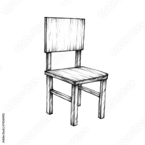 Stuhl gezeichnet  Einfacher Holzstuhl