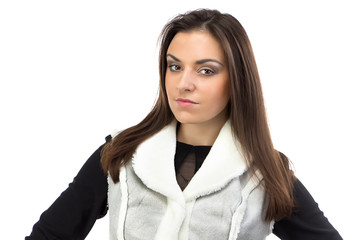 Image of the brunette in fake fur waistcoat
