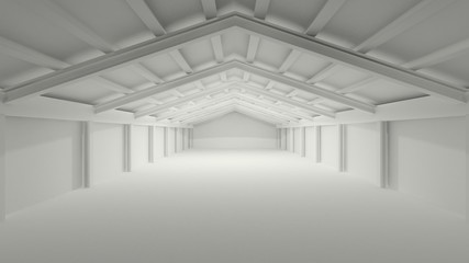 big grey gray 3D hall warehouse deposit
