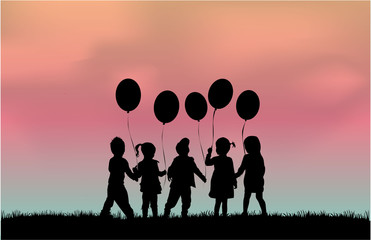 Silhouette of children with balloon.