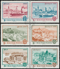 Stamps printed in Hungary shows View of Budapest