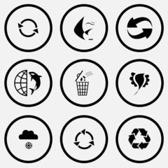 recycle symbol, fish, globe and shamoo, bin, bird, snowfall.