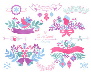 Watercolor christmas design elements.