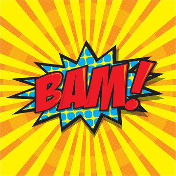 BAM! wording sound effect set design for comic background