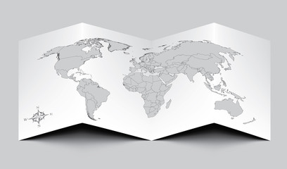 World Paper Map - Gray EPS 10
