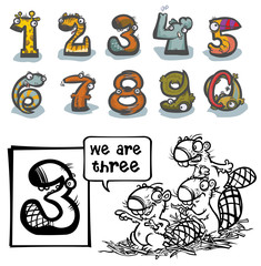 Cartoon Animal Numbers. With number Three for coloring.