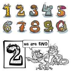 Cartoon Animal Numbers. With number Two for coloring.