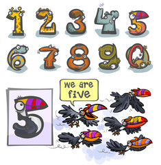 Cartoon Animal Numbers. With number Five as Toucans.