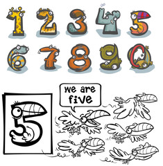 Cartoon Animal Numbers. With number Five for coloring.