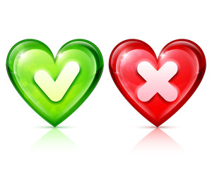 Heart shapes with tick and cross