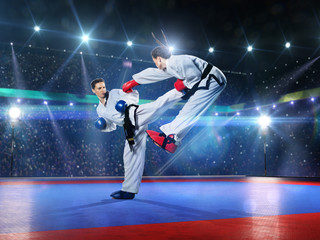 Two professional female karate fighters are fighting