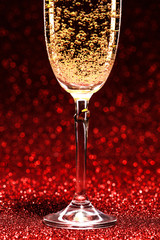 glass of champagne ready for christmas celebration