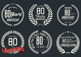 Anniversary laurel wreath design, 80 years